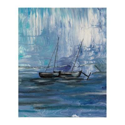 Poszter, hajó a tengeren, keret nélkül, 40x50 cm, kék - MAREE